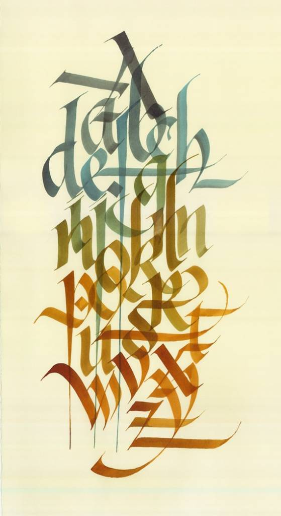 Alphabet color blocked calligraphy