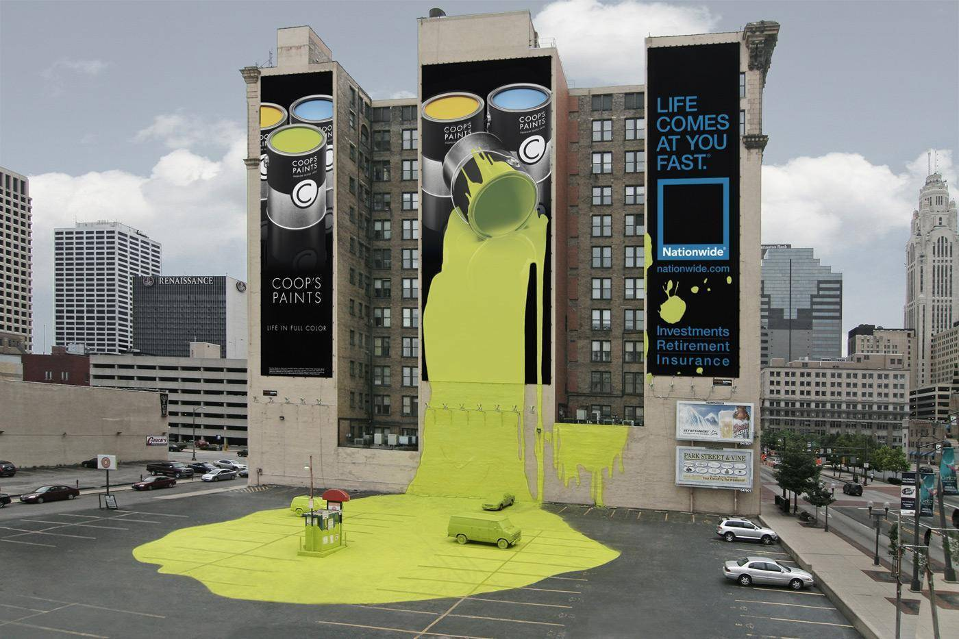 Billboard of paint spills onto parking lot