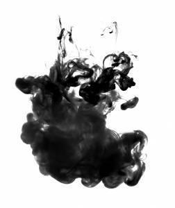 black ink suspended in solution