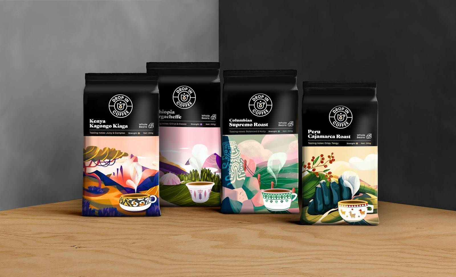 coffee packaging design by forma station for dropin coffee brand