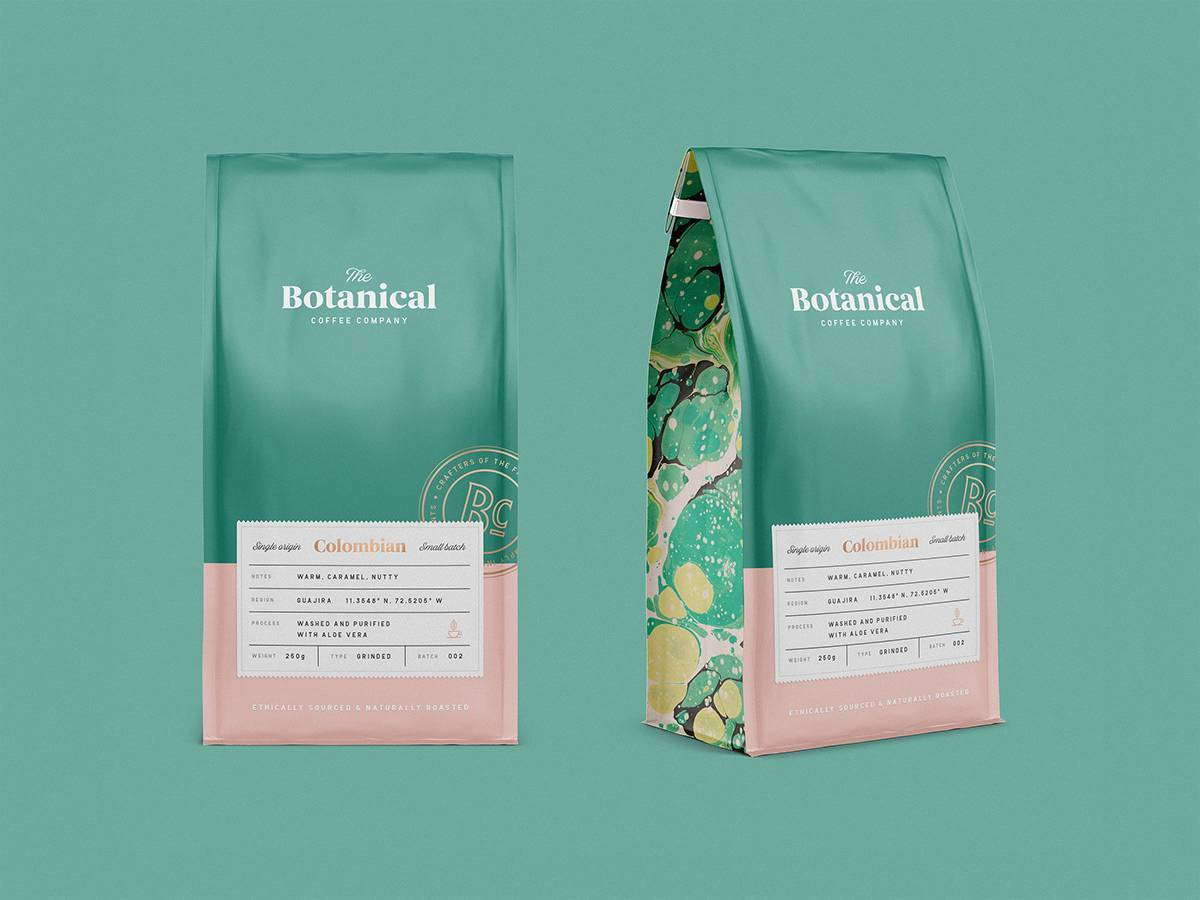 coffee packaging design by green cameleon for botanical coffee brand