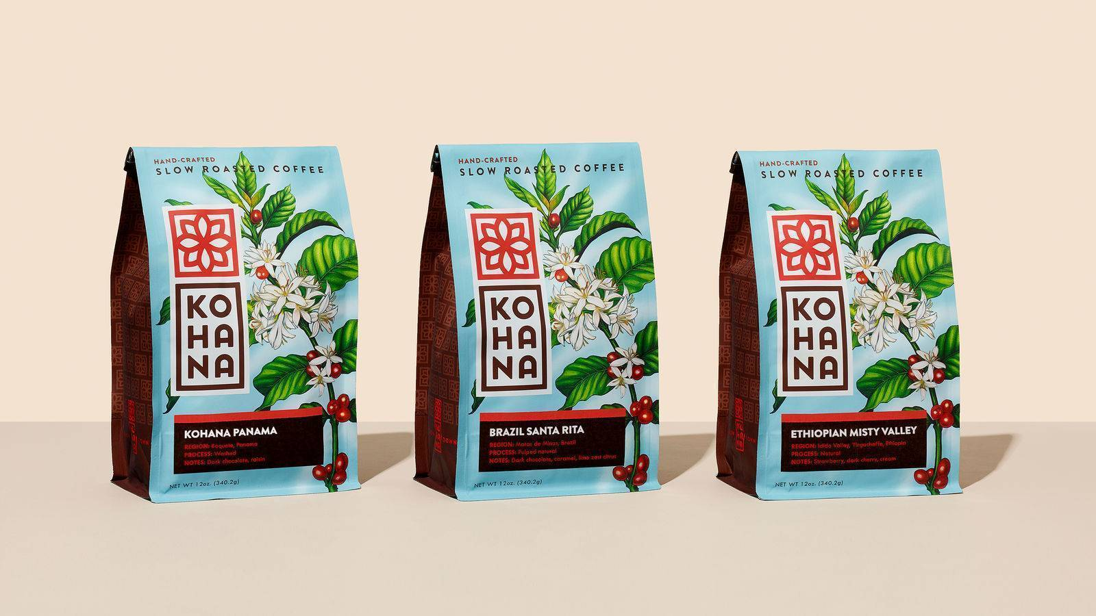 coffee packaging design by helms workshop for kohana brand