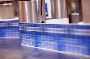 Labels running at fast speed in production line