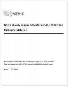 nestle food quality requirements