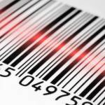 photo of a barcode being scanned with a red laser
