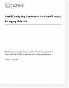 photo of cover nestle food supplier document