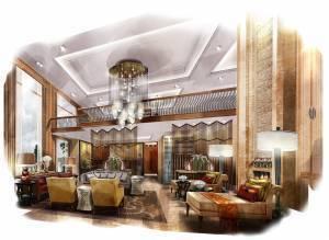 Interior design sketch that incorporates digital wallpaper