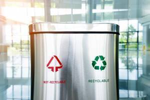 printed stainless steel garbage and recycling containers