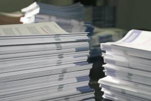 stack of printed documents