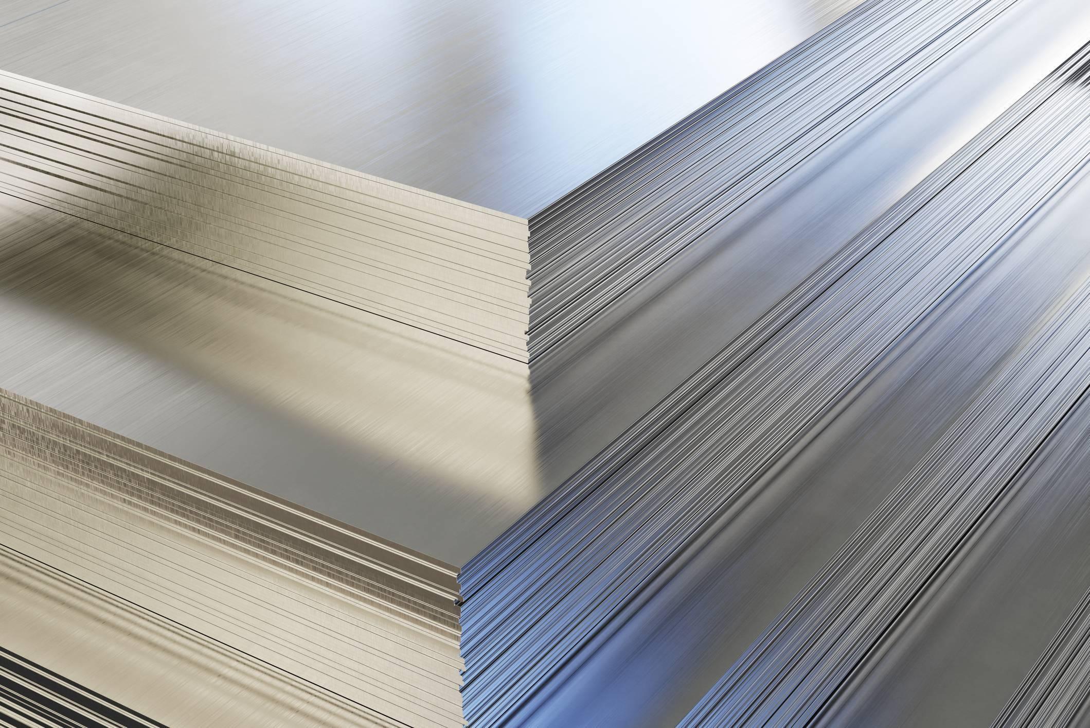 stacks of aluminum sheets