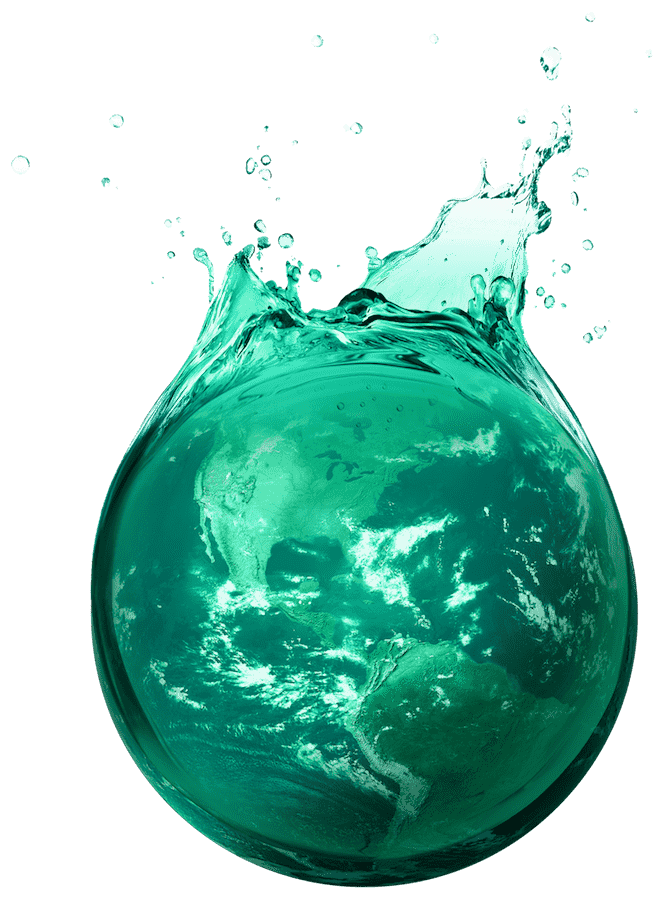 water droplet splash with the Earth inside
