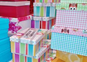 assortment of colorful printed gift boxes