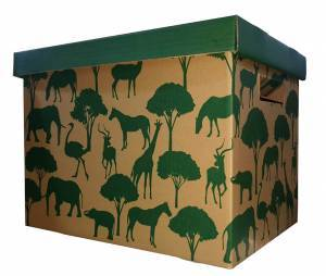 green animals and trees printed on brown corrugated cardboard box