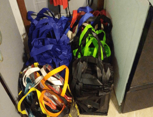 Bags filled with donated items